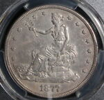 1877 S SAN FRANCISCO MINT TRADE DOLLAR PCGS GRADED ALMOST UNCIRCULATED DETAILS