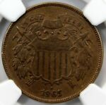 1865 TWO  2  CENT PIECE  NGC AU 58 BN