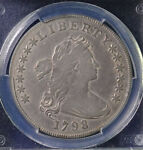 1798 $1 DRAPED BUST DOLLAR LARGE EAGLE CLEANING PCGS VF DETAILS 31531223