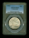 1935 P CONNECTICUT HALF DOLLAR SILVER COMMEMORATIVE 50C PCGS MS 65 HIGH GRADE