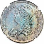 TONED 1807 50/20C CAPPED BUST HALF DOLLAR UNCIRCULATED NGC MS 64 4496763 005