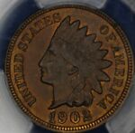 1902 INDIAN CENT PCGS MS64RB.