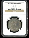 1853 ARROWS AND RAYS 50C SEATED LIBERTY HALF DOLLAR AU50 NGC