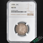 1908  25 BARBER QUARTER   NGC AU55   CHOICE ALMOST UNCIRCULATED     4228226 00