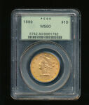1899 P LIBERTY HEAD $10 TEN DOLLAR GOLD EAGLE PCGS MS 60 TYPE 3 WITH MOTTO