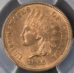 1866 INDIAN HEAD CENT RPD 18/18 6/6 PCGS MS64RD  REVERSE CUD
