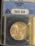 1936 YORK COUNTY MAINE COMMEMORATIVE HALF DOLLAR GRADED MS 64 BY ANACS.