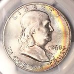 1960 D FRANKLIN HALF DOLLAR PCGS MS65 CRESCENT RAINBOW TONED COLORFUL TONING  2T