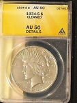 1934 S SILVER PEACE DOLLAR GRADED AU 50 DETAILS BY ANACS   FREE US SHIPPING.