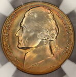 1948 S JEFFERSON NICKEL NGC MS66  WORLD CLASS  SMOOTH RAINBOW COLOR TONE   I15