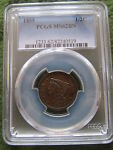 1855 BRAIDED HAIR HALF CENT PCGS MS62 BN 1/2 PENNY BROWN EAC COHEN COIN