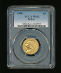1908 P $5 GOLD HALF EAGLE FIVE DOLLAR INDIAN HEAD GOLD PCGS MS 62