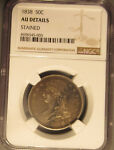 1838 P SILVER CAPPED BUST HALF DOLLAR  50C  REEDED EDGE NGC AU STAINED
