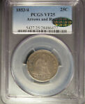1853/4 SILVER SEATED LIBERTY QUARTER  25C  ARROWS AND RAYS PCGS VF 25 CAC