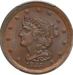 1855 1/2C PCGS MS65 BN  CAC STICKER  GORGEOUS GEM TYPE COIN   HALF CENT SEE PICS