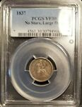 1837 10C SEATED LIBERTY DIME NO STARS LARGE DATE PCGS VF30
