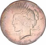 1922 SILVER PEACE DOLLAR NGC MS63 LIGHT RAINBOW COLOR TONED GREAT LUSTER OC 7725
