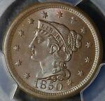 1850 PCGS MS65 LARGE CENT GEM UNCIRCULATED  BRAIDED HAIR PENNY SHIPS FREE