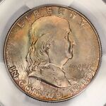 1948 P FRANKLIN HALF DOLLAR PCGS MS65FBL BEAUTIFUL TONED COLORFUL TONING 5C