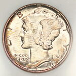 1943 P MERCURY DIME NGC MS65 NICE RIM TONED COLORFUL TONING IN FATTY HOLDER 10L