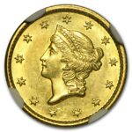 1849 $1 LIBERTY GOLD SMALL HEAD OPEN WREATH MS 61 NGC