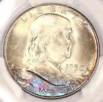1950 P FRANKLIN HALF DOLLAR PCGS MS65 TOXIC RAINBOW TONED COLORFUL TONING  2R