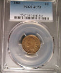 1863 P INDIAN HEAD CENT  1C  PCGS AU 55