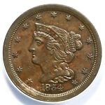 1854 ANACS AU 55 STRUCK THROUGH BRAIDED HAIR HALF CENT COIN 1/2C