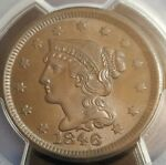 HIGH GRADE CAC   1846 BRAIDED HAIR LARGE CENT