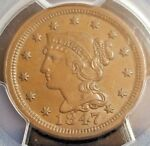 NEWCOMB 26    1847 BRAIDED HAIR LARGE CENT  GRADED: PCGS AU 50