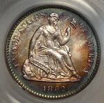 1862 SEATED LIBERTY HALF DIME CHOICE UNCIRCULATED PCGS MS 64 GREAT COLOR