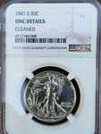 1941 S WALKING LIBERTY HALF DOLLAR NGC GRADED UNC DETAILS CLEANED