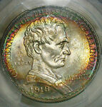PCGS MS65 1918 LINCOLN ILLINOIS. MONSTER COLOR TONE. 1 IN 1000 COLOR.