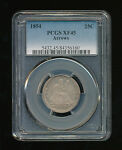 1854 P SEATED LIBERTY SILVER QUARTER PCGS XF 45 TYPE 4 NO MOTTO ARROWS AT DATE