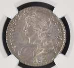 1831 CAPPED BUST HALF DOLLAR NGC AU 58 O 104. GREAT COLOR AND TONING