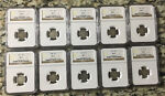 LOT OF TEN BARBER DIMES GRADED AG3 BY NGC 1907 1915 LOW GRADE BUT PROBLEM FREE