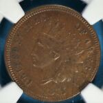 1875 HEAD CENT NGC AU50BN  TOUGHER DATE/MINT CHOCOLATE BROWN