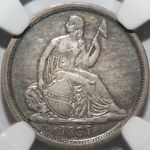 1837 SEATED LIBERTY DIME NGC XF40 NO STARS LARGE DATE