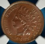 1887 INDIAN HEAD CENT NGC MS63BN  GLOSSY BROWN NICE LOOKING EXAMPLE