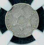 1856 3 CENT SILVER:  NGC VF35 PROBLEM FREE