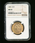 1883 P LIBERTY HEAD $10 GOLD EAGLE TEN DOLLAR EAGLE NGC MS 63 TYPE 3 WITH MOTTO