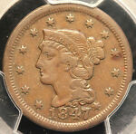 1847/7 N 2 LARGE CENT IN A PCGS HOLDER GRADED VF30