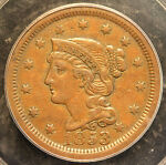 1853 N 6 LARGE CENT IN AN 1852 PCGS HOLDER GRADED XF45