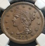 1844 LARGE CENT NGC AU58BN MEDIUM BROWN BEAUTY NEW PURCHASES CHN