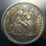 1861  LIBERTY SEATED DIME TYPE 1 OBVERSE  ICG AU58   VARIETY