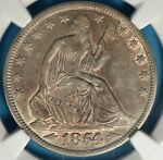 1854 O ARROWS SEATED LIBERTY HALF DOLLAR NGC AU55  SHARP DETAILS AND TONE PQ