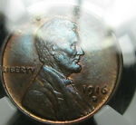 1916 D LINCOLN CENT WHEAT PENNY NGC MS 63 SLABBED BLUE TONED        137
