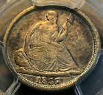 1837 NO STARS LARGE DATE SEATED HALF DIME PCGS F15 NICE COIN CHN