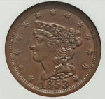 1853 1/2C BN BRAIDED HAIR HALF CENT C 1 NGC MS64 MS64BN