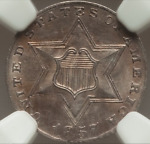 ROTATED DIE 1857 3 CENTS SILVER UNC NGC MS61